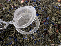 Free Infuser And Green Tea Leaves Stock Images - 18075624