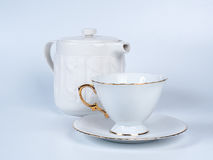 Infuser teapot with tea cup on white background. Royalty Free Stock Image