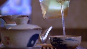 Infusión de colada principal del té del cuenco de la imparcialidad en taza Ceremonia de té china almacen de metraje de vídeo