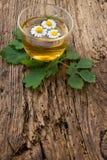 Infusión de hierbas con la manzanilla en la tabla de madera vieja Visión superior Concepto de la medicina alternativa Fotografía de archivo libre de regalías