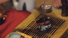 Infusión de hierbas de fabricación femenina oriental turistas europeos, actividad cultural china almacen de video