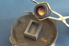 Infusión del aluminio fundido en el molde fotografía de archivo