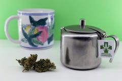 Infusie van geneeskrachtige cannabis om spierpijnen te behandelen stock foto