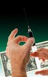 Infusie voor dollar royalty-vrije stock foto's
