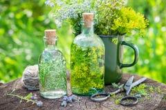 Infusion des herbes curatives et de l'herbe médicinale sur le vieux tronçon dehors Images stock