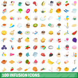 100 infusion icons set, isometric 3d style Royalty Free Stock Images