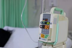 Infusion pump intravenous IV drip in the hospital Stock Photos