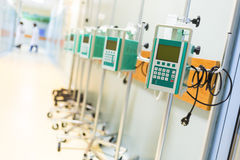 Infusion pumps in a hospital corridor Royalty Free Stock Images