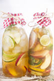 Infusion of tea peach and lemon Stock Photography