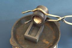 Infusione di alluminio fuso nella muffa Fotografia Stock Libera da Diritti