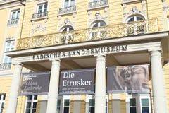 Ingång av den `-Badisches Landesmuseum `en i Karlsruhe Royaltyfria Foton