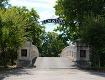 Ingång av den historiska Elmwood kyrkogården Arkivfoto