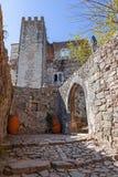 Ingång av den medeltida slotten av Leiria med en gotisk båge Arkivbild
