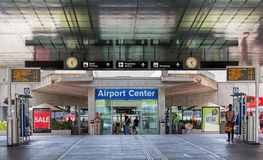 Ingång av den Zurich flygplatsen Fotografering för Bildbyråer