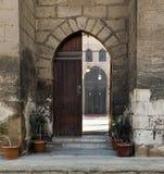 Ingång av en historisk moské som avslöjer mosqu'snas borggård arkivbild