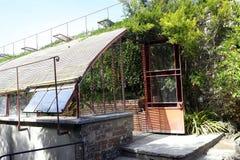 Ingång av ett växthus i parkera av bambukolonin av Fotografering för Bildbyråer