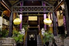 Ingång av Flora Hotel i Kuta Arkivbilder
