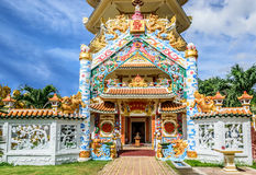 Ingång av pagoden på Mahapanya Vidayalai arkivbild