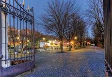 Ingång av Parc des-bastioner, Genève, Schweiz royaltyfria foton