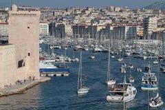 Ingång av Vieux-port av Marseilles Royaltyfria Foton