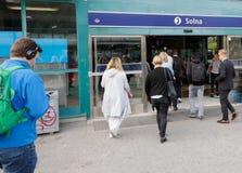 Ingång för Solna järnvägstation royaltyfri foto