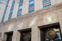Ingång till den eniga påstod domstolsbyggnaden i Philadelphia royaltyfri bild