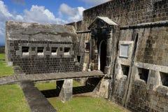Ingång till den inre citadellen av svavelkullefästningen, St Kitts och Nevis Royaltyfria Foton