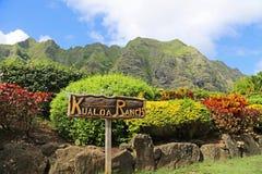 Ingång till den Kualoa ranchen Arkivfoto