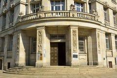 Ingång till den Runde Ecke byggnaden i Leipzig Arkivfoto