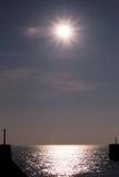 Ingång till den Shoreham hamnen på solnedgången Fotografering för Bildbyråer