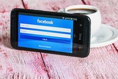 Ingång till den sociala nätverksfacebooken Arkivfoton
