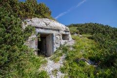 Ingång till den underjordiska bunkercoverden med växter arkivfoton