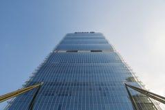 Ingång till det Allianz tornet, ett golv 50 209 meter högväxt skyskrapa i Milan, Italien I 2016 nominerades Il Dritto förbi Arkivfoto