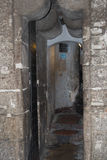 Ingång till det Asinelli tornet 97 M Bologna Emilia Romagna, Italien Royaltyfri Foto