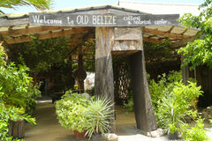Ingång till det gamla Belize museet i den Belize staden Royaltyfria Bilder