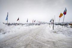 Ingång till det Oceti Sakowin lägret, kanonboll, North Dakota, USA, Januari 2017 Royaltyfri Fotografi