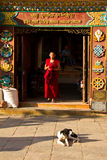 Ingång till Drubgon Jangchup Choeling den tibetana templet, Katmandu, Royaltyfria Bilder