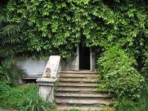 Ingång till ett övergett hus Abchazien Royaltyfri Fotografi