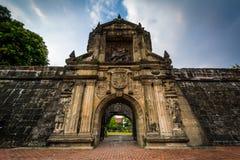 Ingång till fortSantiago, in som är intramuros, Manila, det filippinskt royaltyfri fotografi