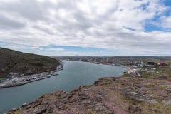 Ingång till hamnen för St John ` s, Newfoundland, Kanada royaltyfria bilder