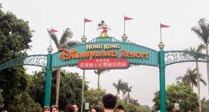 Ingång till Hong Kong Disneyland Resort på 30 mars, 2019 royaltyfri bild