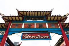 Ingång till kineskvarteret i Los Angeles, Kalifornien, USA arkivbilder