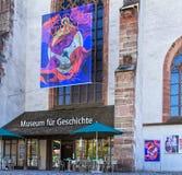Ingång till museet av historia i Baseln, Schweiz royaltyfria foton
