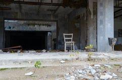 Ingång till slotten av kultur Energetik, övergiven spökstad Pripyat, Tjernobyl uteslutandezon, Ukraina royaltyfri foto