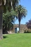 Ingång till slotten av San Sebastian Located In The Mountain av Castro In Vigo Natur arkitektur, historia, lopp järtecknet royaltyfri fotografi