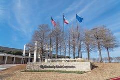 Ingång till världshögkvarter av Kimberly-Clark i Irving, Tex royaltyfri bild