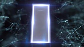 Ingången till cyberspace Ingången till modern teknologi Mystisk dörr med många öppningar stock illustrationer