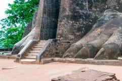 Ingången till det Sigiriya lejonet vaggar fästningen i Sigiriya, Sri LAN Fotografering för Bildbyråer