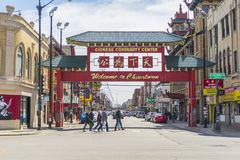 Ingången till kineskvarteret för Chicago ` s arkivbild