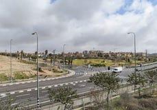 Ingången till staden av Arad i Israel royaltyfri foto